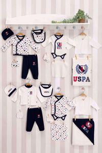 Resim U.S. Polo Assn Lisanslı Krem Bebek 20'Li Hastane Çıkış Seti